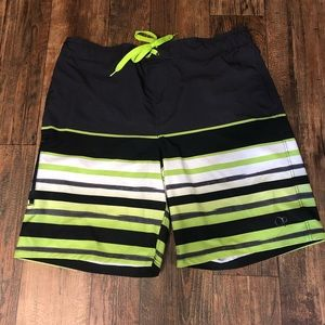 OP XL 40-42Board Shorts Black / Neon Green / white